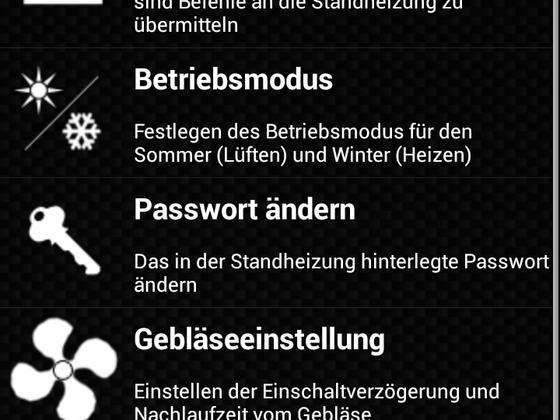 Volle Kontrolle über jegliche Funktionen der Standheizung per App
